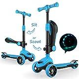 FASCOL 2 en 1 Patinete de 3 Ruedas de LED para Niños Scooter Vespa de Asiento Desmontable para 18 Meses - 8 años Niños Patinete de Carga Máxima: 50 kg...