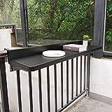 SYTH Mesas auxiliares al Aire Libre, Mesa de barandilla Colgante Plegable para balcón, Mesa de jardín con terraza Ajustable, Mesa de Bar para Comedor con...