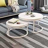 HHMKL Mesa Centro Nido Redonda Juego 2 mesas Circulares Modernas para Sala Estar Mesa Lateral Decorativa Tablero Densidad mármol imitación Madera...